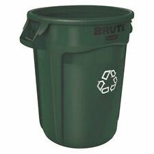 Rubbermaid 1788472 32 Gal Round Polyethylene Recycling Bin, Green