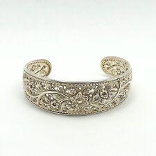 Sterling Silver Repoussé Floral Filigree Wide Cuff Bangle Bracelet