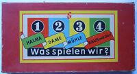 """WAS SPIELEN WIR? um 1955 HALMA DAME MÜHLE """"RAUS MIT DIR"""" DDR"""