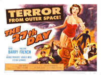 1957 THE 27TH DAY VINTAGE SCIENCE FICTION MOVIE POSTER PRINT STYLE B 18x24 9 MIL