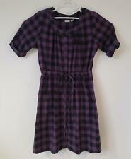 Eshakti Custom Dress Plus Plum Black Drawstring Waist Flannel Zip Pockets Button