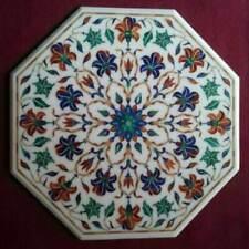 "24"" white marble coffee table top semi precious stones inlay home decor"
