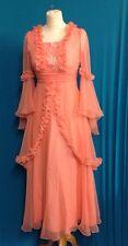 Vintage Retro Chifon Long Dress 1970s Original Gorgeous Fully Lined UK Size 12