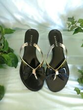 Bamboo women's 6-7 Jelly Flip Flops Jeweled Bow Black & Gold