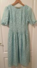VTG Ladies Unbranded Blue Broderie Anglais Fully Lined Day Dress with Bow Size 8