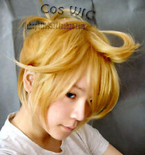 Vocaloid Kagamine Len Rin Blonde Cosplay Wig Heat Resistent Cos Hair Wigs E147