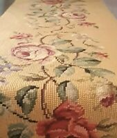 Antique Needlepoint Table Runner - Wool Hand Stitched - Heirloom