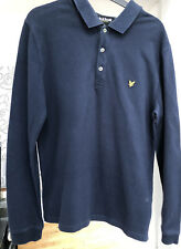 Lyle And Scott Navy Long Sleeved Polo Size L