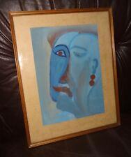 Peinture gouache expressionnisme allemand die Brücke portrait signature à identi