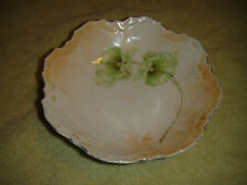Antique RS Germany Scalloped Berry Bowl-Green Floral Design-Lovely Antique Bowl