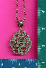New lead free pewter celtic knot on a steel ball chain necklace 581