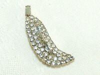 Vintage Art Nouveau Paved Prong Set Rhinestone Leaf Pin Brooch