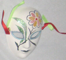 """White Ceramic 4"""" Face Mask w Pink Yellow Flower"""