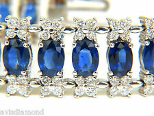█$30000 VIDEO 33.75CT NATURAL GEM SAPPHIRE DIAMOND BRACELET 3 ROW & WIDE CUFF█