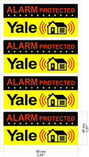 4 Warning Stickers Signs Window Home Safety Yale Alarm THEFT PROTECTION Y +