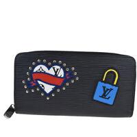 Auth LOUIS VUITTON Long Zippy Wallet Purse Epi LV Stories Black M63376 18MA483