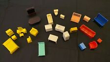 5 Rooms of Vintage Multicolored Plastic 1950's Doll House Furniture