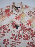 Lot of 2 Mens Large Tori Richard viscose ivory floral hawaiian shirt