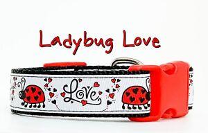 "Ladybug dog collar handmade adjustable buckle 1"" wide or leash Love"