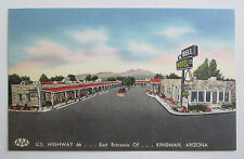 US Highway Route 66 Bell Hotel Kingman Arizona Postcard vtg Linen AZ Post Card