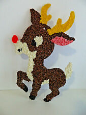 Vintage Melted Plastic Popcorn Rudolph Red Nose Reindeer Christmas Wall Hanging