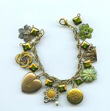 VINTAGE COLLECTIBLES CHARM BRACELET WITH RETRO STYLE GLASS BEADS & LOCKET
