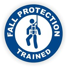 Fall Protection Trained Hard Hat Sticker  Safety Helmet Harness Decal Label USA