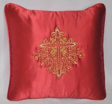 "Cross Embroidered Pillow made w Red Crepe Satin Fabric trim self cording 18"" NEW"