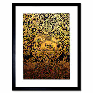 Painting Ornate Thailand Elephant Framed Art Print Picture Mount 12x16 Inch