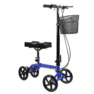 Clevr Medical Foldable Steerable Knee Walker Scooter with Basket, Blue