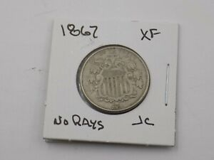 1867 Shield Nickel No Rays -  Extra Fine US Mint Coins