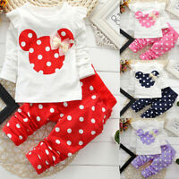 2PCS Baby Kids Toddler Girls Minnie Mouse T-shirt Tops+Pants Outfits Clothes Set