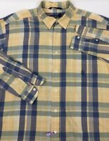 NAUTICA Mens Button Front Plaids Checks Long Sleeve Snap Blue Beige Shirt Sz XL