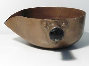 Antique Arts & Crafts Hammered Copper Pouring Pan - Sugar Pan
