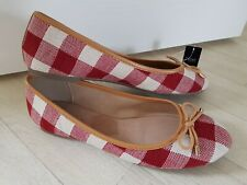 CHECKED PUMPS size 5 white RED tan FLAT DOLLY SHOES bow NEXT