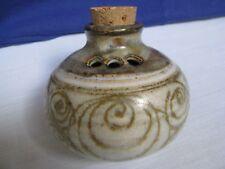 Studio Art Pottery Cheese Shaker Green Gold Swirls on Gray Sugar Spice Server HM