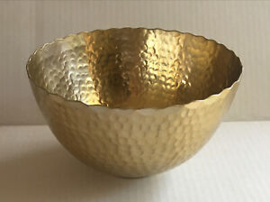 Home Indoor Decorative Round Hammered Gold Finish Bowl Made in India