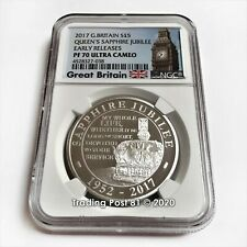 2017 Great Britain - Queen's Sapphire Jubilee - Silver Early Releases - PF 70 UC