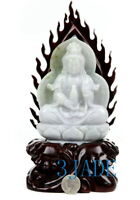 A Grade Natural Jadeite Jade Lotus Kwan Yin / Guanyin Statue Carving Sculpture