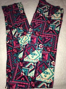 LuLaRoe NWT TC Tall&Curvy Leggings Pinks Greens Off White Aztec Print