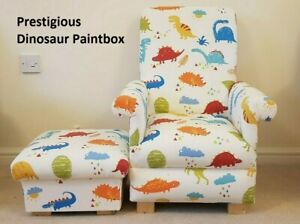 Kids Chair Child's Armchair & Footstool Prestigious Dinosaur Fabric Children's