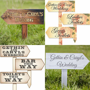 Personalised Wedding Venue Guest Outdoor Direction Signs - Choice of Styles