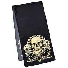 Seide Schal Kunst Satin schwarz Herren Damen Schädel Mystik Gothik Skull 1736