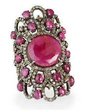 Victorian Look 925 Silver Cocktail Ring 3.94cts Rose Cut Diamond Ruby Antique