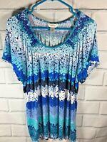 CJ Banks Women's Top Plus Size 1X Blue Short Sleeve Top Shirt  (U80)