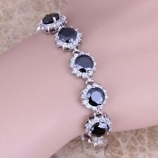Black Sapphire White Topaz Silver Link Chain Bracelet 7 inch For Women S0621