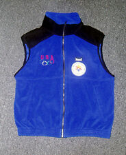 2002 Salt Lake USA Olympic NOC Team MARKER Blue thick Sleeveless Fleece Vest new