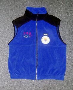 2002 Salt Lake USA Olympic NOC Team MARKER Blue thick Sleeveless Fleece Vest new