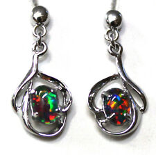 XMAS Women Gift Natural Black Triplet Opal Earring With 925 Solid Silver