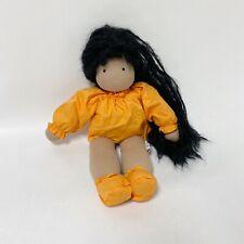 "Evi Dolls Waldorf Tan Brown Skin Black Mohair Hair Plush Doll 16"" Missing Dress"